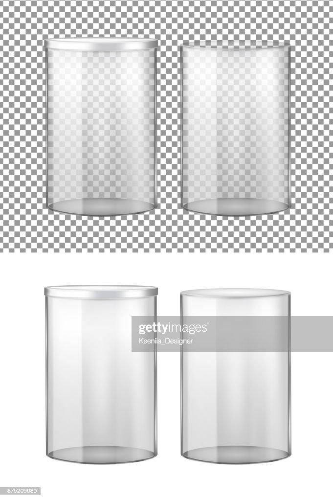 Transparent glass jar with metal lid