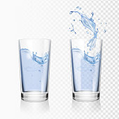 Transparent glass of water vector realistic