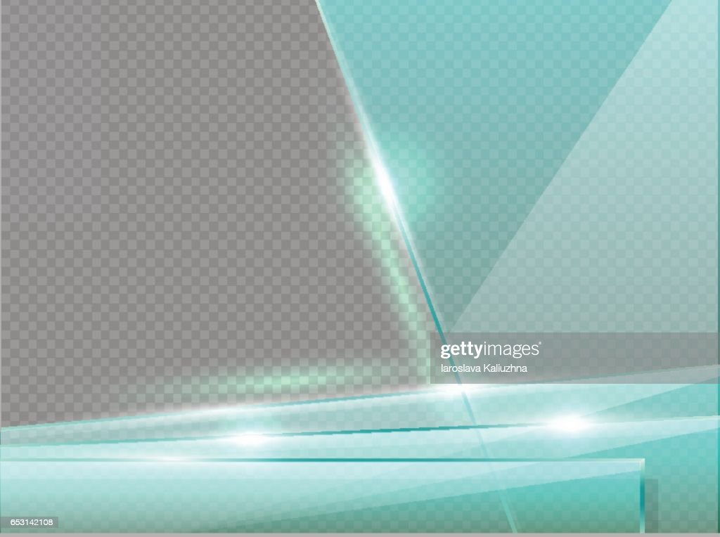 Transparent glass plates with spotlight, shadow and hotspot flare web page. Banner template or presentation frame. Modern background