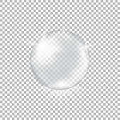 Transparent glass sphere with glares and highlights