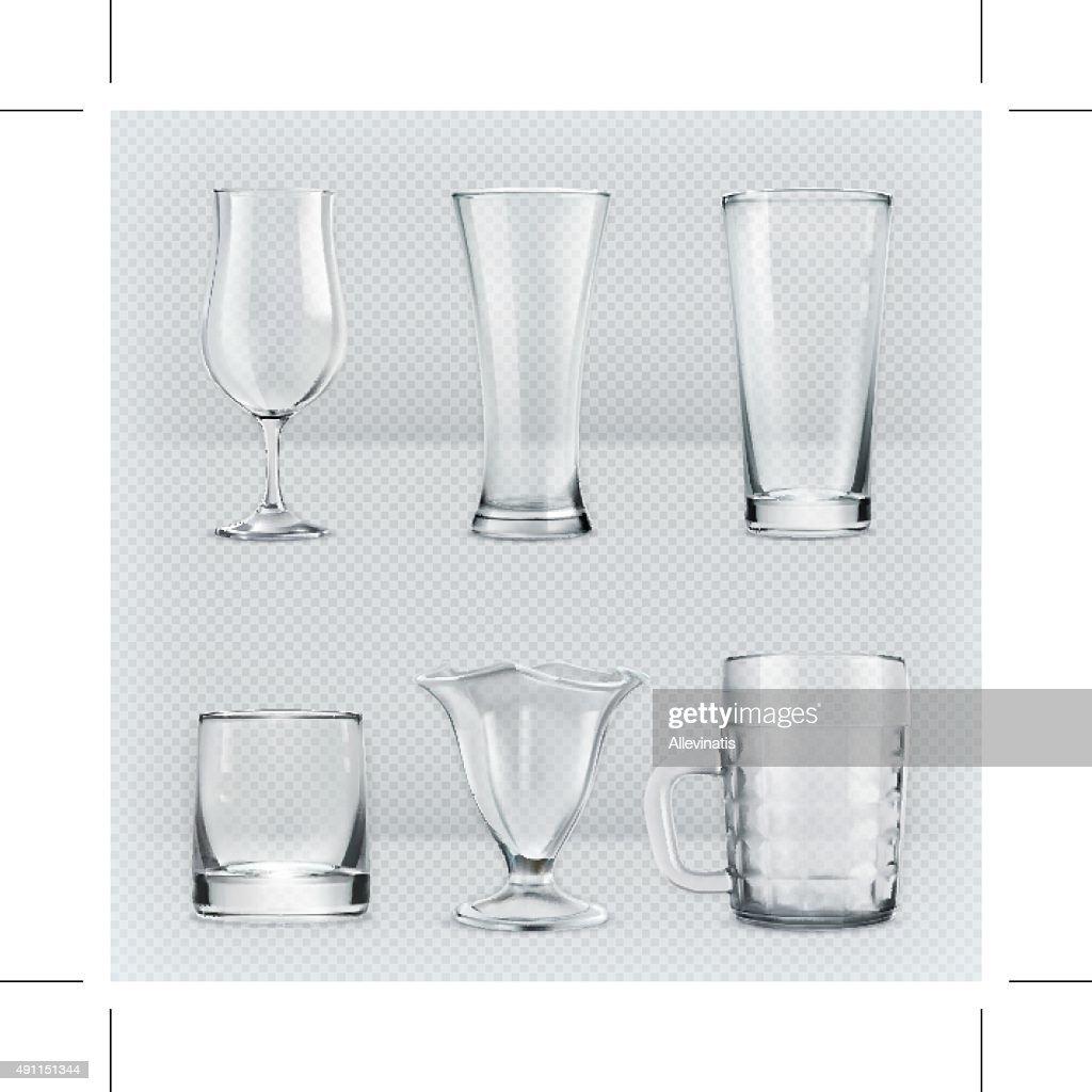 Transparent glasses goblets