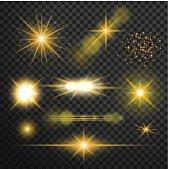 Transparent glow light effect. Star burst with sparkles.lens fla