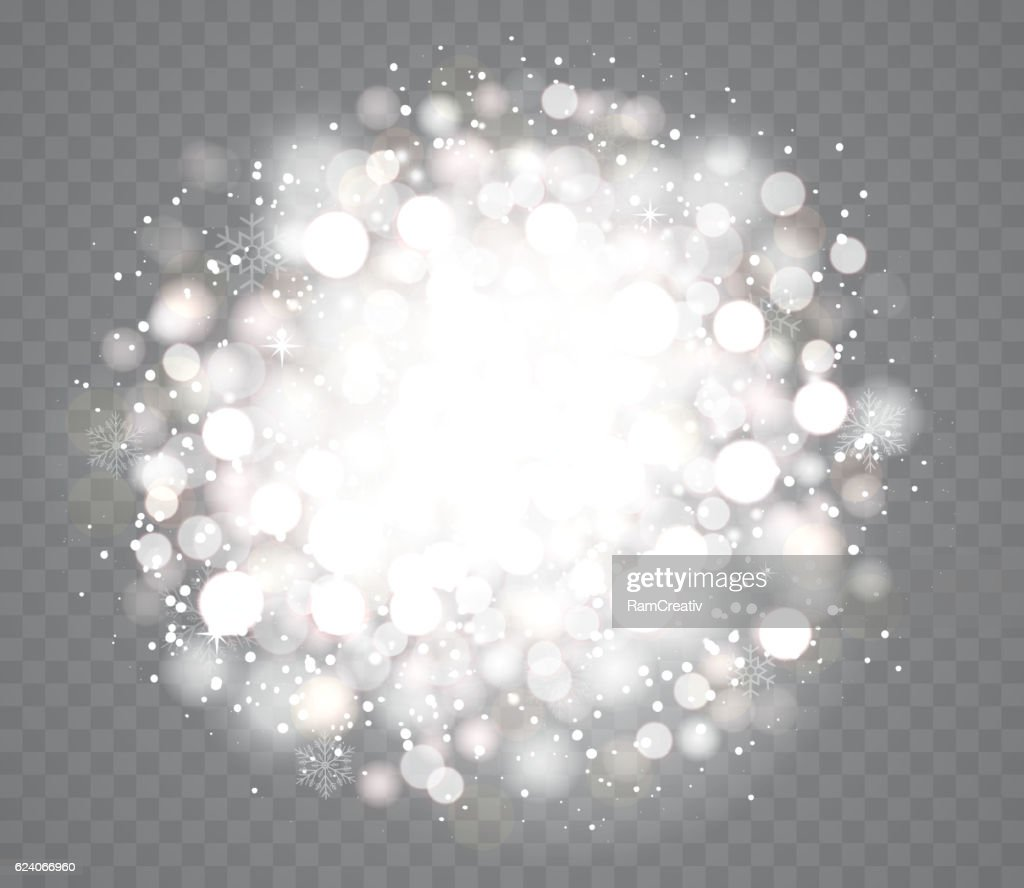 Transparent glowing snow effects with sparkles.
