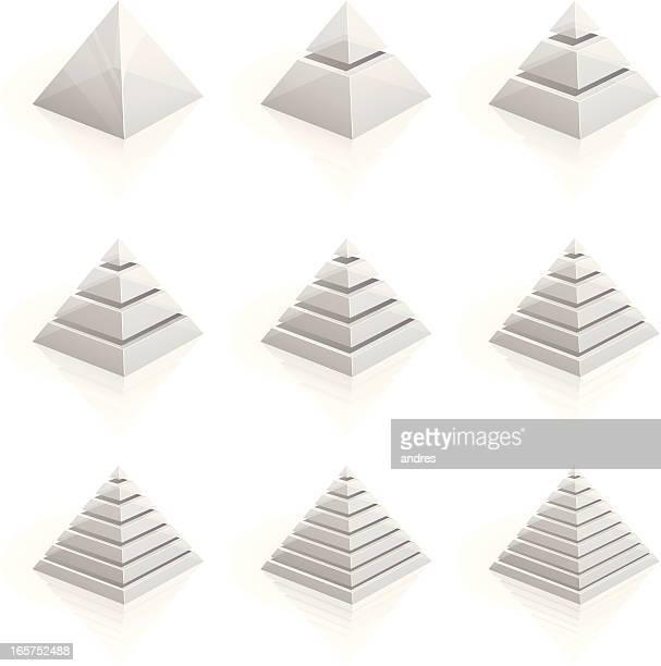 transparent layered pyramids divided into two to nine rows - pyramid stock illustrations