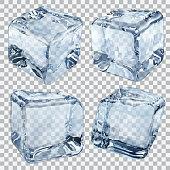 Transparent light blue ice cubes