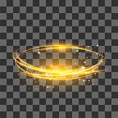 Transparent Light Effect . Yellow Lightning Flafe. Gold Glowing Stars. Ellipse with Circular Lens. Fire Ring Trace