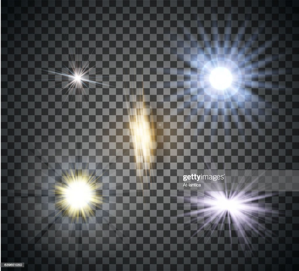 Transparent lighty effects on a dark background. Spotlights, flare, explosion