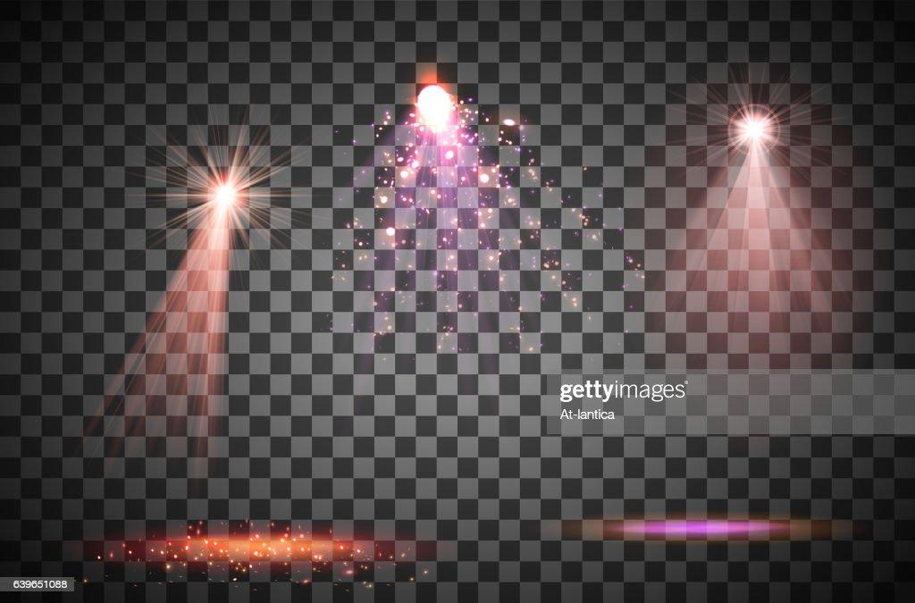 Transparent lighy effects on a dark background. Spotlights, flare, explosion