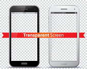 Transparent Mobile Phone Screens Vector Illustration.