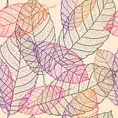 Transparent multicolored autumn leaves pattern background