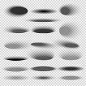 Transparent oval bottom drop shadows for any round objects vector templates