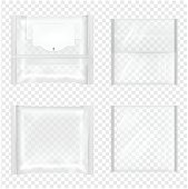 Transparent package with flap for snacks, food, chips, cheese