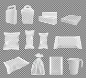 Transparent packaging for snacks, food, chips, sugar and spices. Big vector set