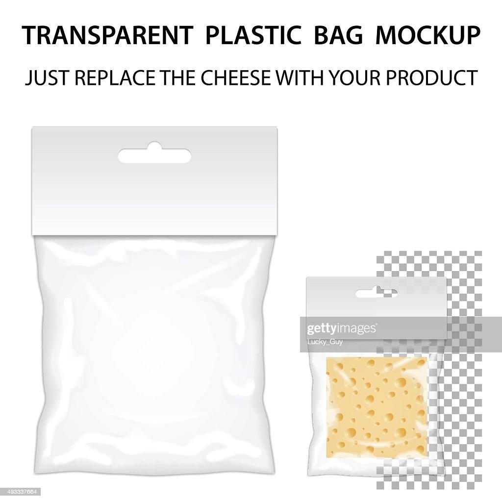 Transparent Plastic Bag Mockup Ready For Your Design. Blank Pack
