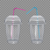Transparent plastic cup with drinking straws. For smoothie or lemonade. Vector Illustration on transparent background.