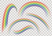 Transparent rainbow set. Rainbow collection isolated on transparent vector background.