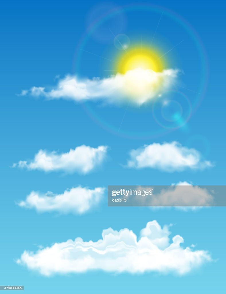 Transparent Realistic Clouds Fulltime Sky With Sun And