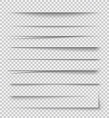 Transparent realistic paper shadow effects on checkered background. Element for advertising and promotional message... - stock vector.