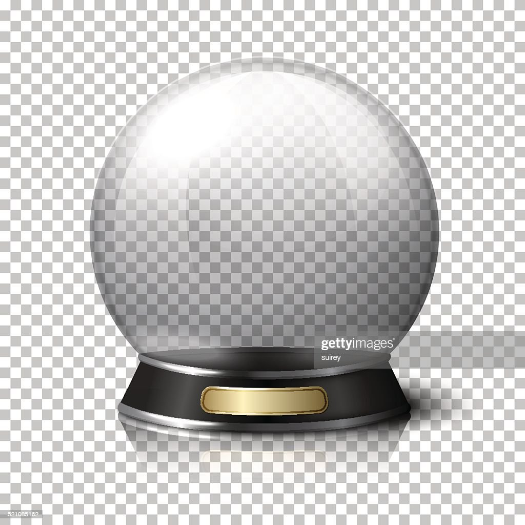 Transparent realistic vector crystal ball for fortune tellers. Isolated on