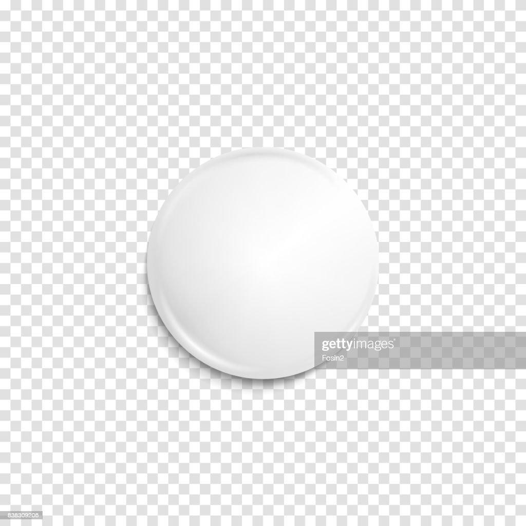 Transparent realistic white badge
