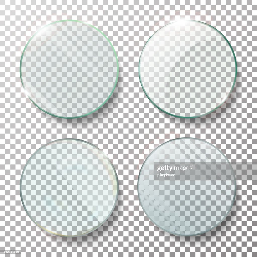 Transparent Round Circle Set Vector Realistic Illustration. Flat Glass Circle. Glass Plate