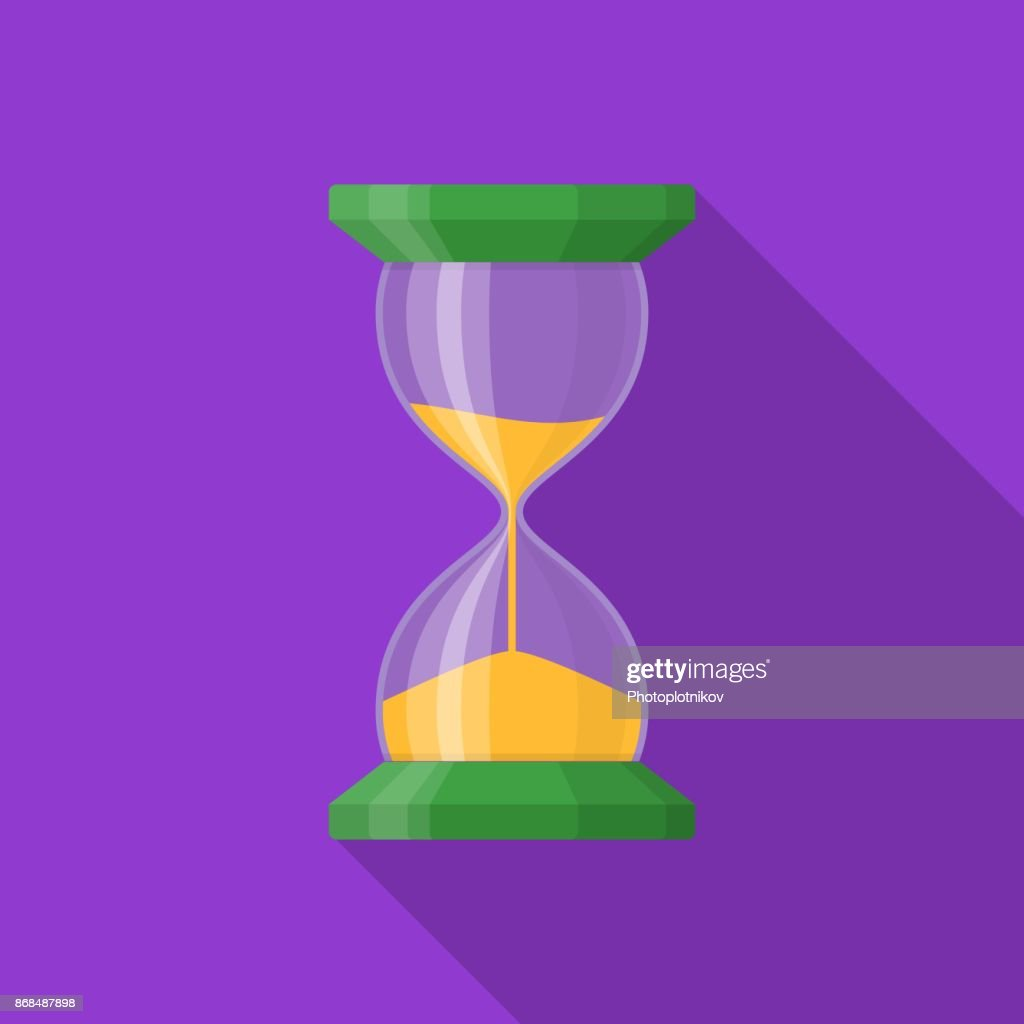 Transparent sandglass icon on background with long shadow. Time hourglass in flat style. Sandclock
