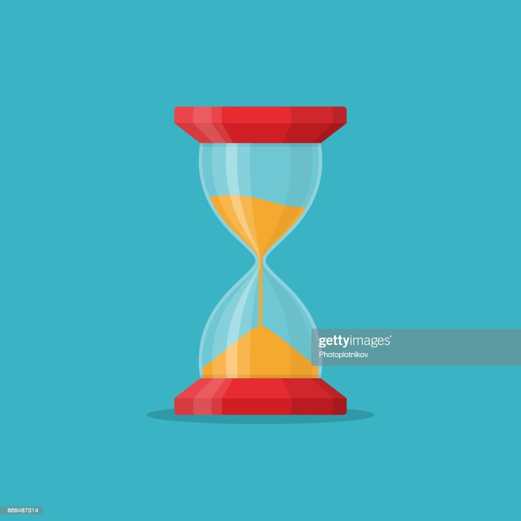 Transparent sandglass icon on blue background. Time hourglass in flat style. Sandclock