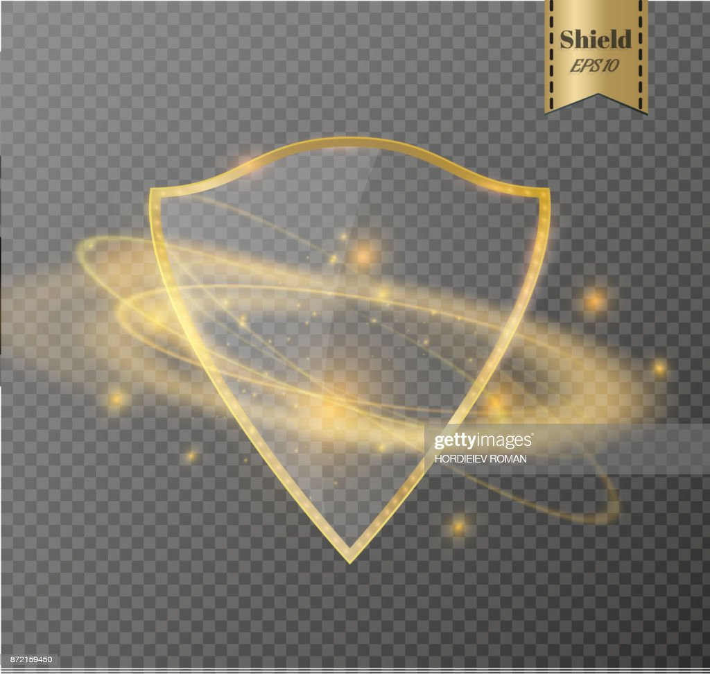 Transparent shield.The banner of privacy.A sign of protection.Glow light effect.Vector illustration. Power energy neon lights cosmic abstract frame
