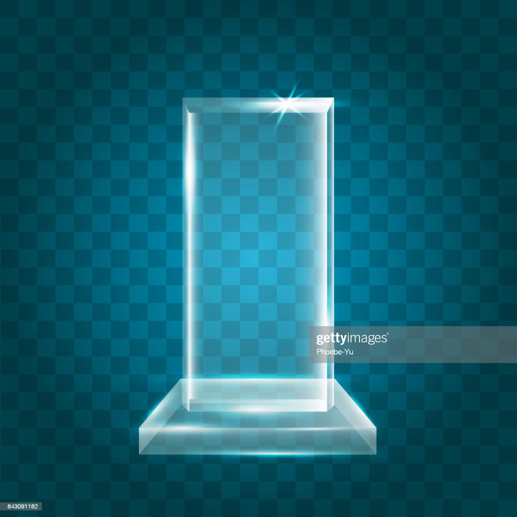 Transparent Shining Blank Vector Acrylic Crystal Glass Trophy Award template