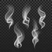 Transparent steam, cigarette smoke waves, fog texture vector set