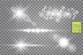 Transparent sunlight lens flare light effect. Star burst with sparkles. Vector illustration