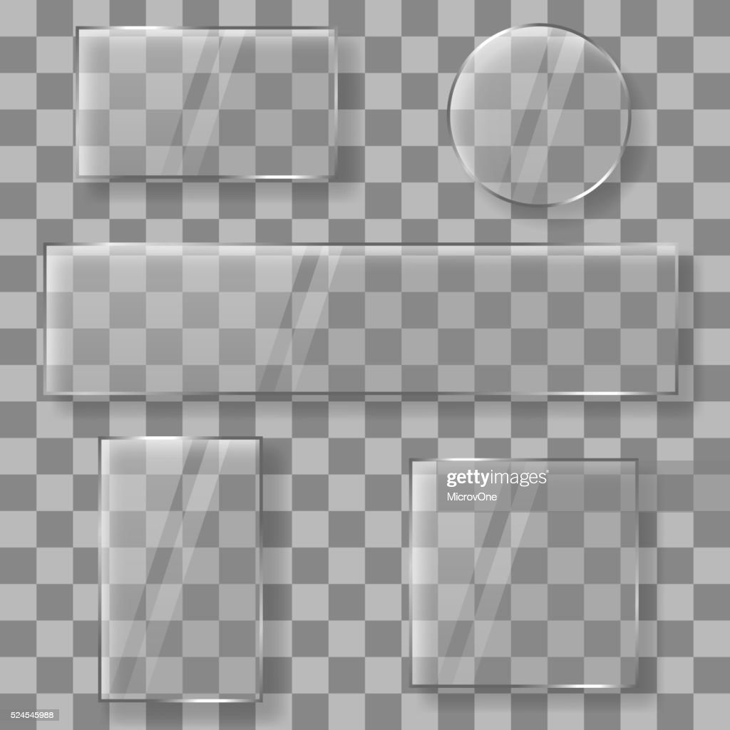 Transparent vector glass plates banners on plaid background