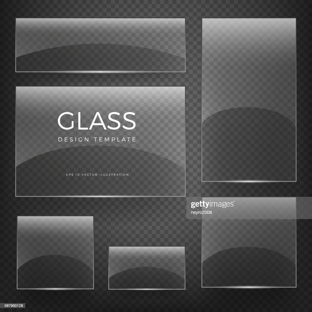 Transparent vector glass vertical and horizontal banners