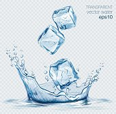 Transparent vector water splash and ice cubes on light background