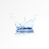 Transparent water splash with reflection and drops isolated. 3d illustration vector. aqua surface background created with gradient mesh tool. Liquid crown from falling into the water in light blue.