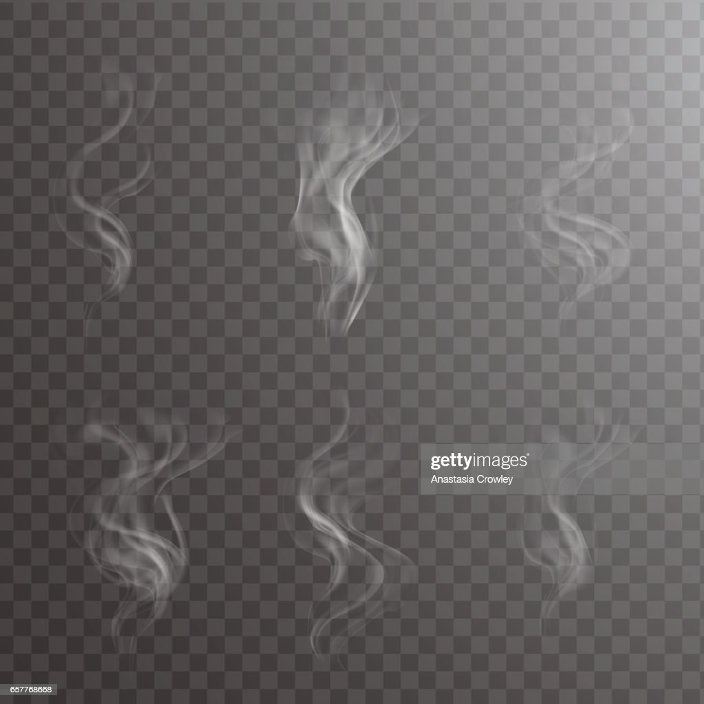 Transparent white steam over cup on dark background background vector illustration.