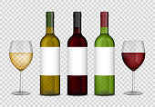 Transparent wine bottles and wineglasses mockup. red and white wine in bottle and glasses isolated. Vector illustration
