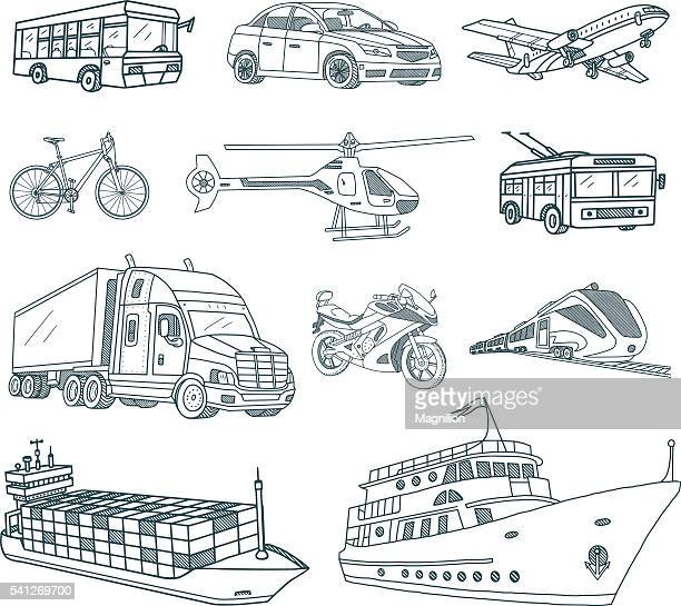 Transport and Logistics Doodles