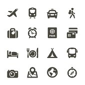 Transport and travel vector image icon set