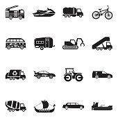 Transport And Vehicles Icons. Black Flat Design. Vector Illustration.