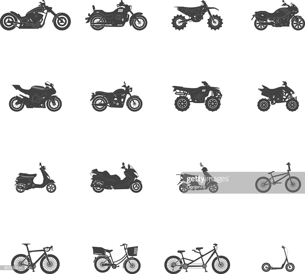 Transport Bike Motorcycle ATV Icon Set