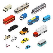 Transport Car 3d Icons Set Isometric View. Vector