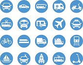 Transport circular icons set
