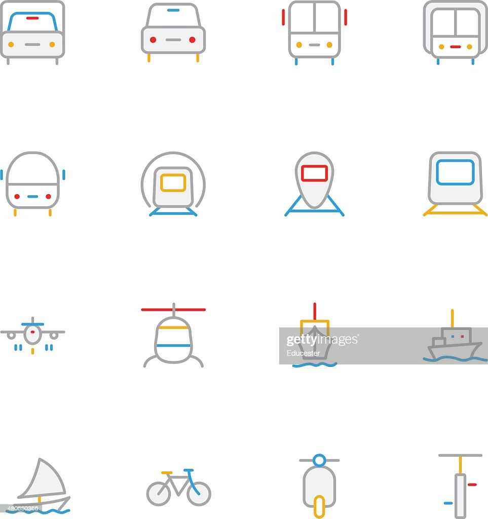 Transport Colored Line Icons 1 : Vector Art
