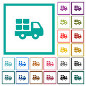Transport flat color icons with quadrant frames