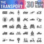 Transport glyph icon set, vehicle symbols collection, vector sketches, symbol illustrations, autumn signs solid pictograms package isolated on white background.