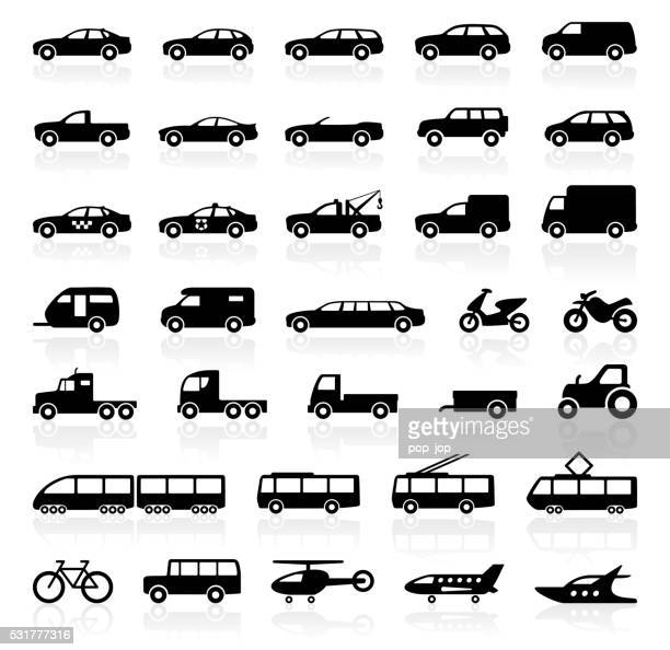 transport icons - illustration - side view stock illustrations