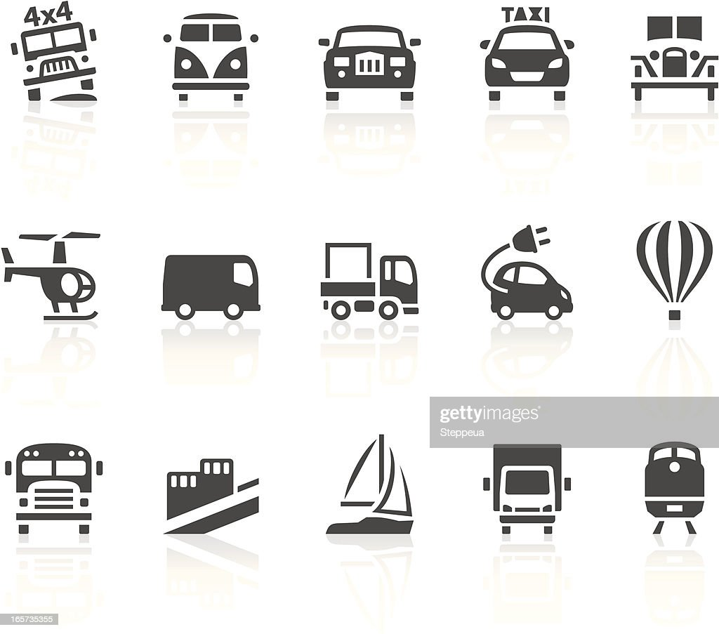 Transport icons in black and white