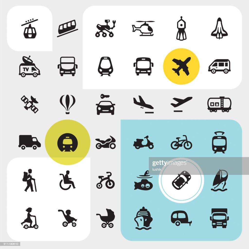Transport icons set : stock illustration