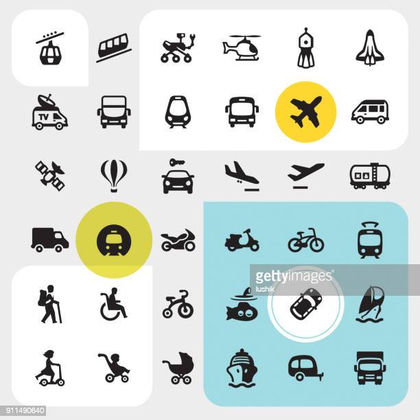 transport icons set - train vehicle stock illustrations